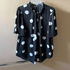 T Tahari Black with White Dots Blouse